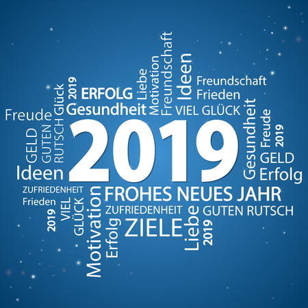Wortwolke mit Grüßen des neuen Jahres 2019 und blauem Hintergrund