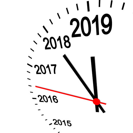three dimensional clock showing New Year 2019 at 12 o'clock