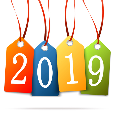 colored hang tags with numbers 2019 for New Year greetings Illustration