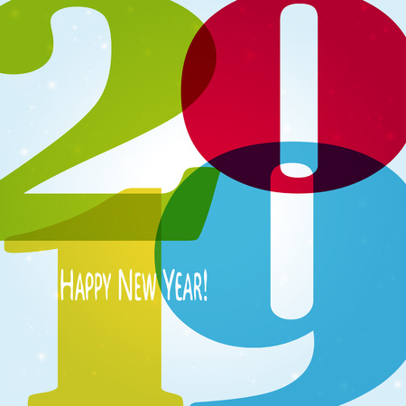 colored background concept for New Year 2019 greetings