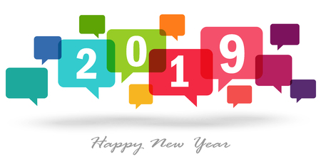 new year greetings with colored speech bubbles and text 2019