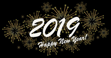 goldenes Feuerwerkskonzept für Neujahrsgrüße 2019 mit schwarzem Hintergrund Vektorgrafik