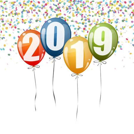 Konfetti und bunte Luftballons mit Zahlen für das neue Jahr 2019 Vektorgrafik