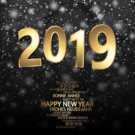 Frohes neues Jahr 2019 Grüße mit goldenen Zahlen und schwarzem Hintergrund