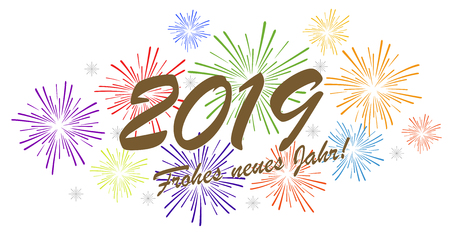 multi colored fireworks concept for New Year 2019 greetings (german text) with white background Ilustração