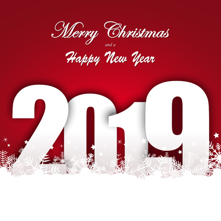 background with snow fall and greetings for christmas and New Year 2019