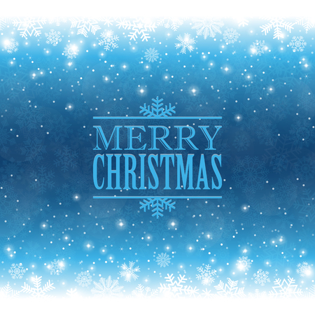 merry christmas greetings on blue snow flakes effect background