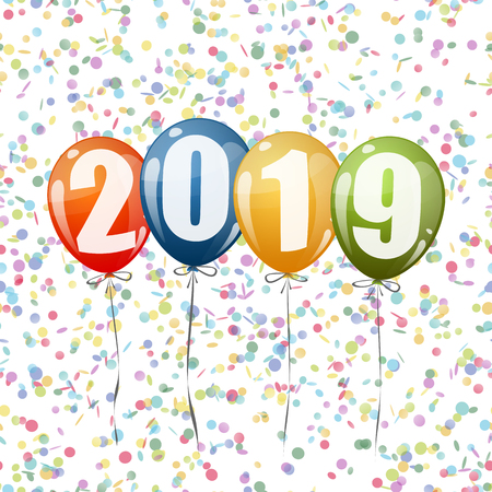 confetti and colored balloons with numbers for New Year 2019