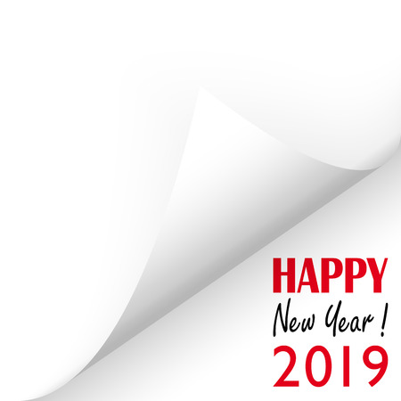 turned over white paper corner showing 2019 and text Happy New Year