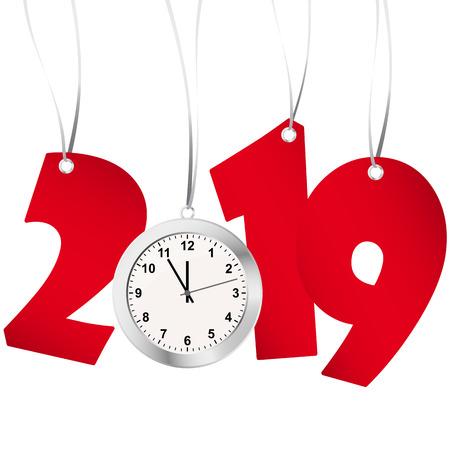 rote Zahlen zeigen Neujahr 2019 mit silberner Uhr Vektorgrafik