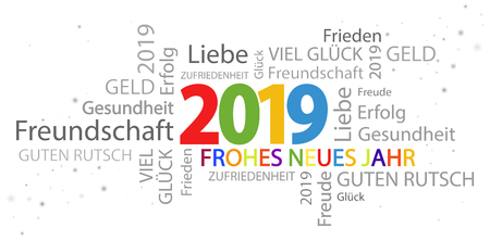 multi colored word cloud with new year 2019 greetings and white background