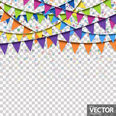 colored garlands and confetti background for party or festival usage with transparency in vector file