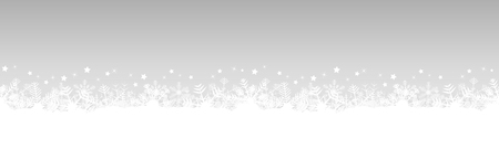 white snow flakes on bottom side and silver colored christmas background Ilustrace