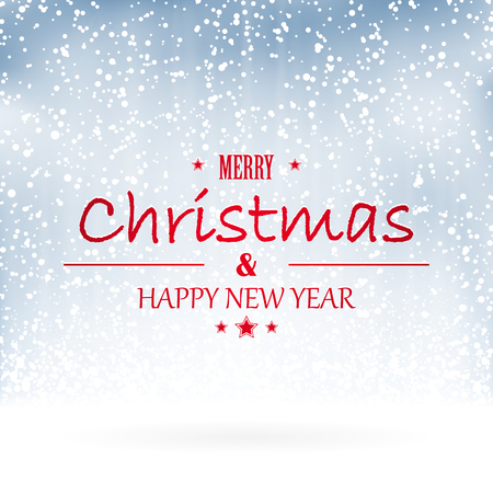 merry christmas and happy new year greetings with snow flakes background