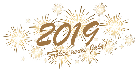 goldenes Feuerwerkskonzept für Neujahrsgrüße 2019 (deutscher Text) mit weißem Hintergrund