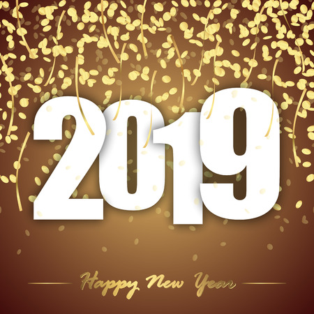 colored background with golden confetti for New Year party 2019 Vettoriali