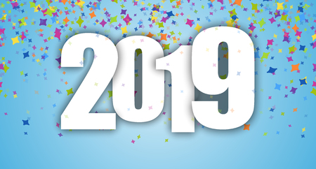 blue background with colored confetti for New Year party 2019