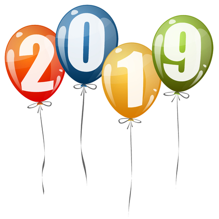 colored balloons with numbers for New Year 2019