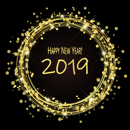 round lightning with dots and sparkle effects colored golden on dark background with Happy New Year 2019 greetings