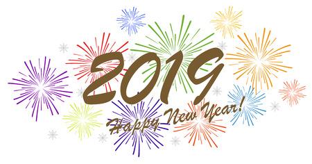 mehrfarbiges Feuerwerkskonzept für Neujahrsgrüße 2019 mit weißem Hintergrund