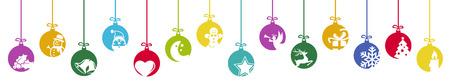 Sammlung hängender Kugeln in verschiedenen Farben mit verschiedenen abstrakten Symbolen für Weihnachts- und Winterzeitkonzepte