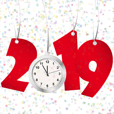 red numbers showing New Year 2019 with silver clock and confetti background