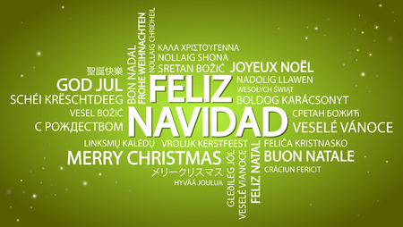 Word cloud with text Merry Christmas in different languages, in the middle one oversized and bold written in Spanish Illustration