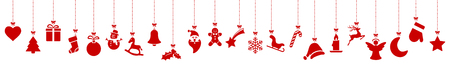 collection of different abstract hanging icons colored red for christmas and winter time concepts