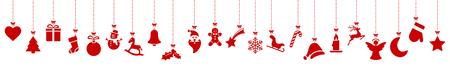Sammlung verschiedener abstrakter hängender Symbole, die für Weihnachts- und Winterzeitkonzepte rot gefärbt sind