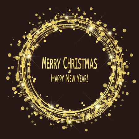 round lightning with dots and sparkle effects colored golden on dark background with Merry Christmas and Happy New Year greetings Banco de Imagens - 113009951