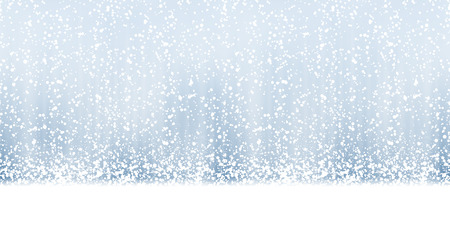 seamless christmas background with white fall of snow on blue colored background Çizim