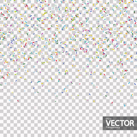 seamless background with different colored confetti for party time with transparency in vector file
