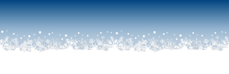 white snow flakes on bottom side and blue colored christmas background