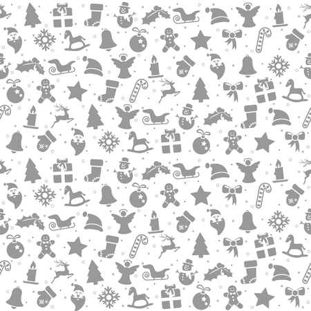 seamless christmas background colored silver consists of typical christmas icons like santa claus, candle, snowfalke, tree, gingerbread man, stars  イラスト・ベクター素材