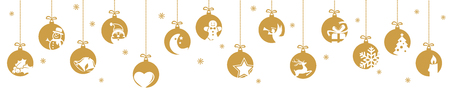 collection of hanging baubles colored gold with different abstract icons for christmas and winter time concepts Illustration