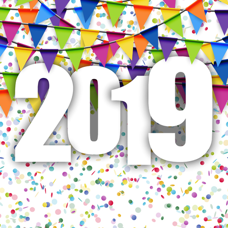 background with colored garlands for New Year party 2019 Illustration