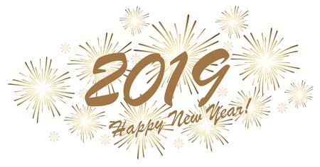 goldenes Feuerwerkskonzept für Neujahrsgrüße 2019 mit weißem Hintergrund