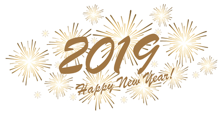 golden colored fireworks concept for New Year 2019 greetings with white background
