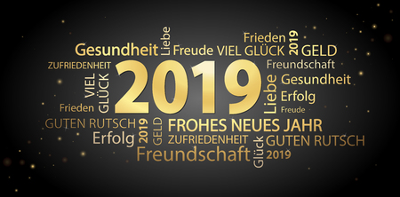 word cloud with new year 2019 greetings colored gold and black background