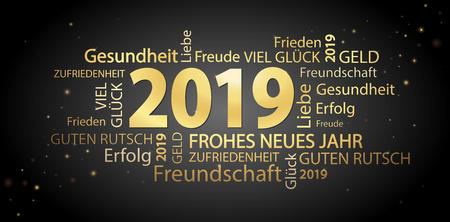 Wortwolke mit Neujahrsgrüßen 2019 in Gold und schwarzem Hintergrund