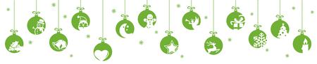 Sammlung hängender Kugeln in grüner Farbe mit verschiedenen abstrakten Symbolen für Weihnachts- und Winterzeitkonzepte Vektorgrafik