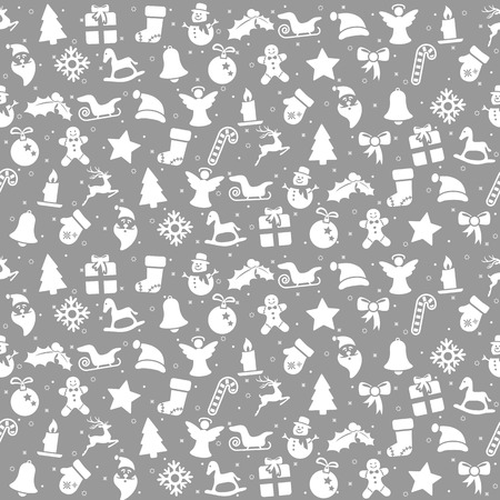 seamless christmas background colored silver consists of typical christmas icons like santa claus, candle, snowfalke, tree, gingerbread man, stars Çizim