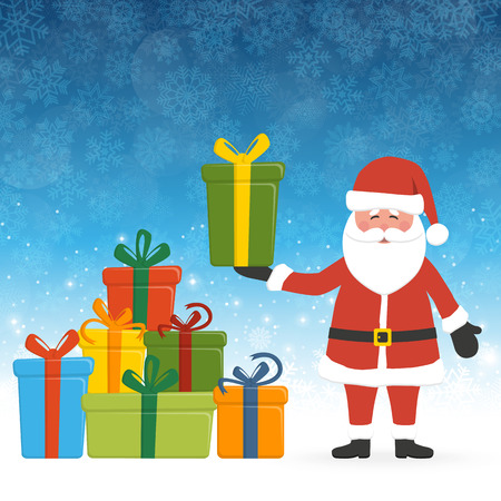 concept with Santa Claus holding a gift, a pile of colored gifts and blue snow fall background for christmas time greetings