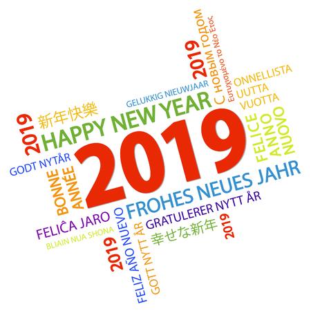 Wortwolke mit Grüßen des neuen Jahres 2019 und weißem Hintergrund