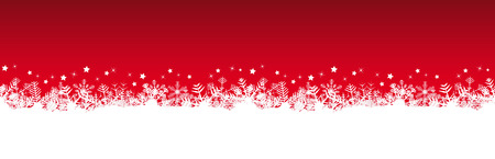 white snow flakes on bottom side and red colored christmas background