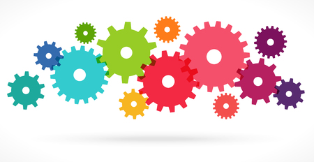 illustration of colored gears symbolizing cooperation or teamwork process Stock fotó - 117021465