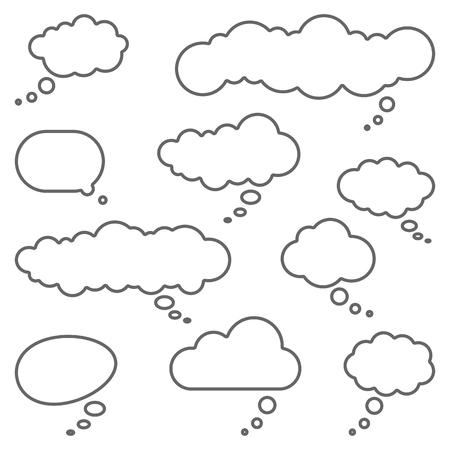 colección de diferentes bocadillos y burbujas de pensamiento con espacio para texto Ilustración de vector
