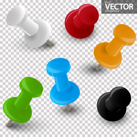 collection of pin needles in different colors with vector transparency Illustration