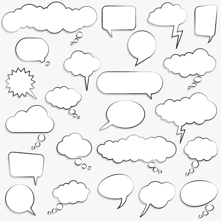 collection of different speech bubbles and thought bubbles with space for text Иллюстрация