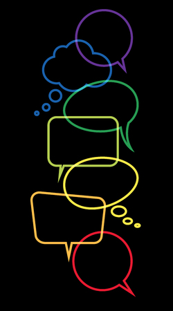 illustration of colored speech bubbles frames in a row with space for text on black background Иллюстрация